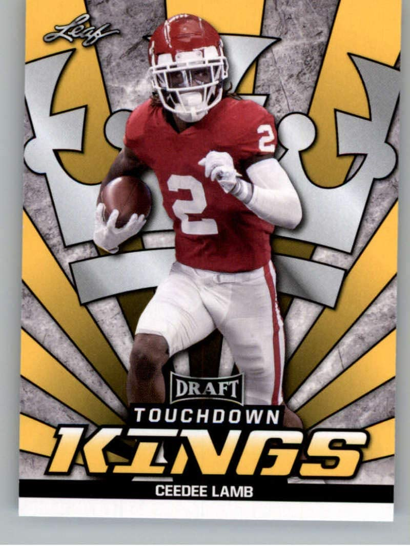 Amazon Com 2020 Leaf Draft Gold 76 Ceedee Lamb Rc Oklahoma Sooners Dallas Cowboys Touchdown Kings Rc Rookie Card Nm Mt Nfl Trading Football Card Collectibles Fine Art
