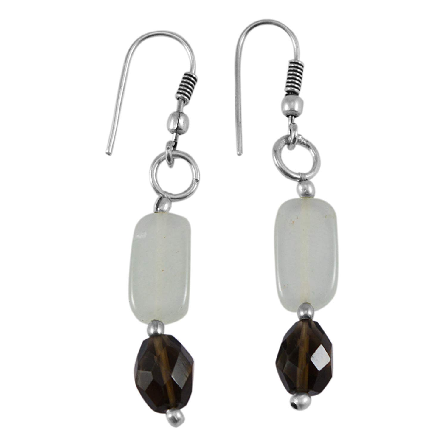 Silvestoo Jaipur Gemstone 925 Silver Plated Dangle Earring Jewelry