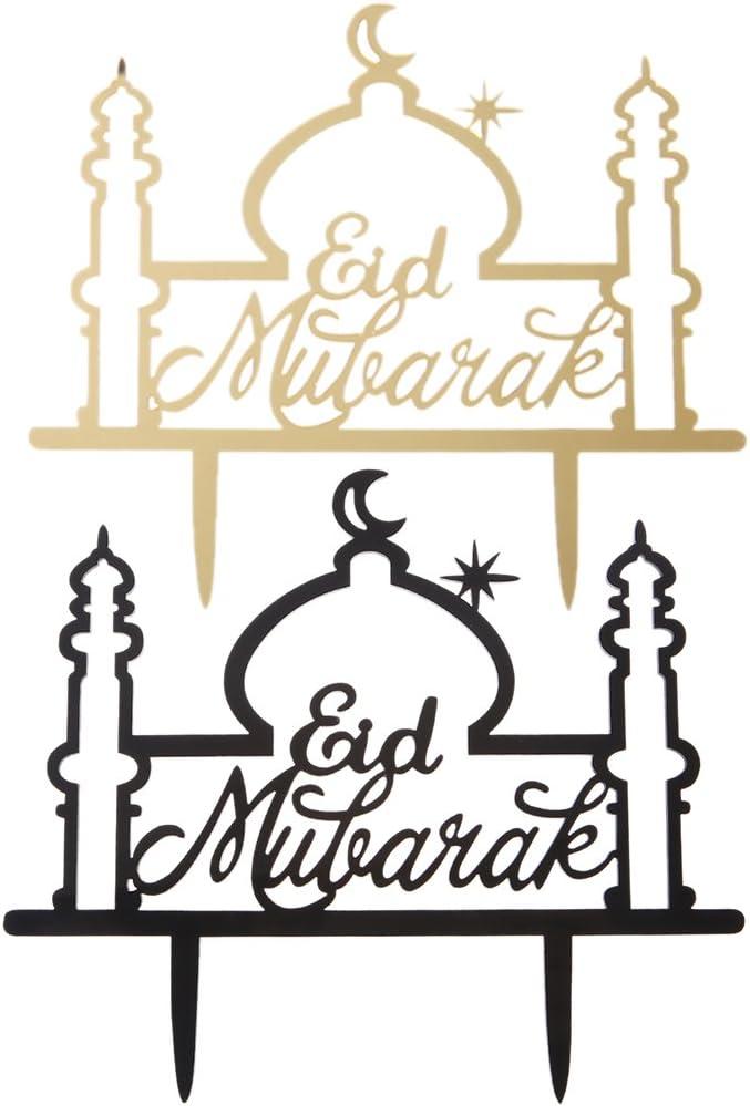 Muslimische Feier BECU 1 St/ück Eid Mubarak Ramadan Kuchentopper f/ür Hochzeitstorten