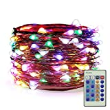 ER CHEN Dimmable LED String Lights Plug In, 33ft 100 LED Waterproof Multicolor Fairy Lights with Remote, Indoor/Outdoor Copper Wire Christmas Decorative Lights for Bedroom, Patio, Garden, Yard, Party