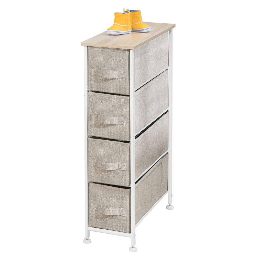 mDesign Narrow Vertical Dresser Storage Tower - Sturdy Frame, Wood Top, Easy Pull Fabric Bins - Organizer Unit for Bedroom, Hallway, Entryway, Closets - Textured Print, 4 Drawers - Light Tan/White
