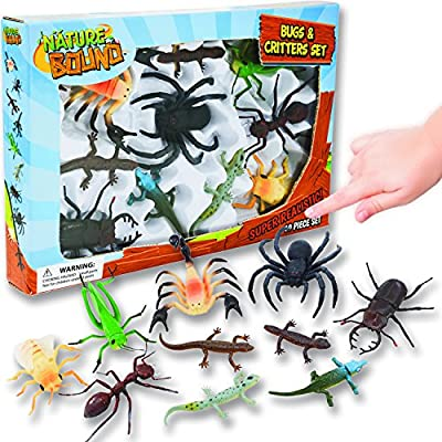 Nature Bound Toys Bugs & Critters Boxed Set with Toy Insect & Animal Figurines (10 Piece), Large: Toys & Games