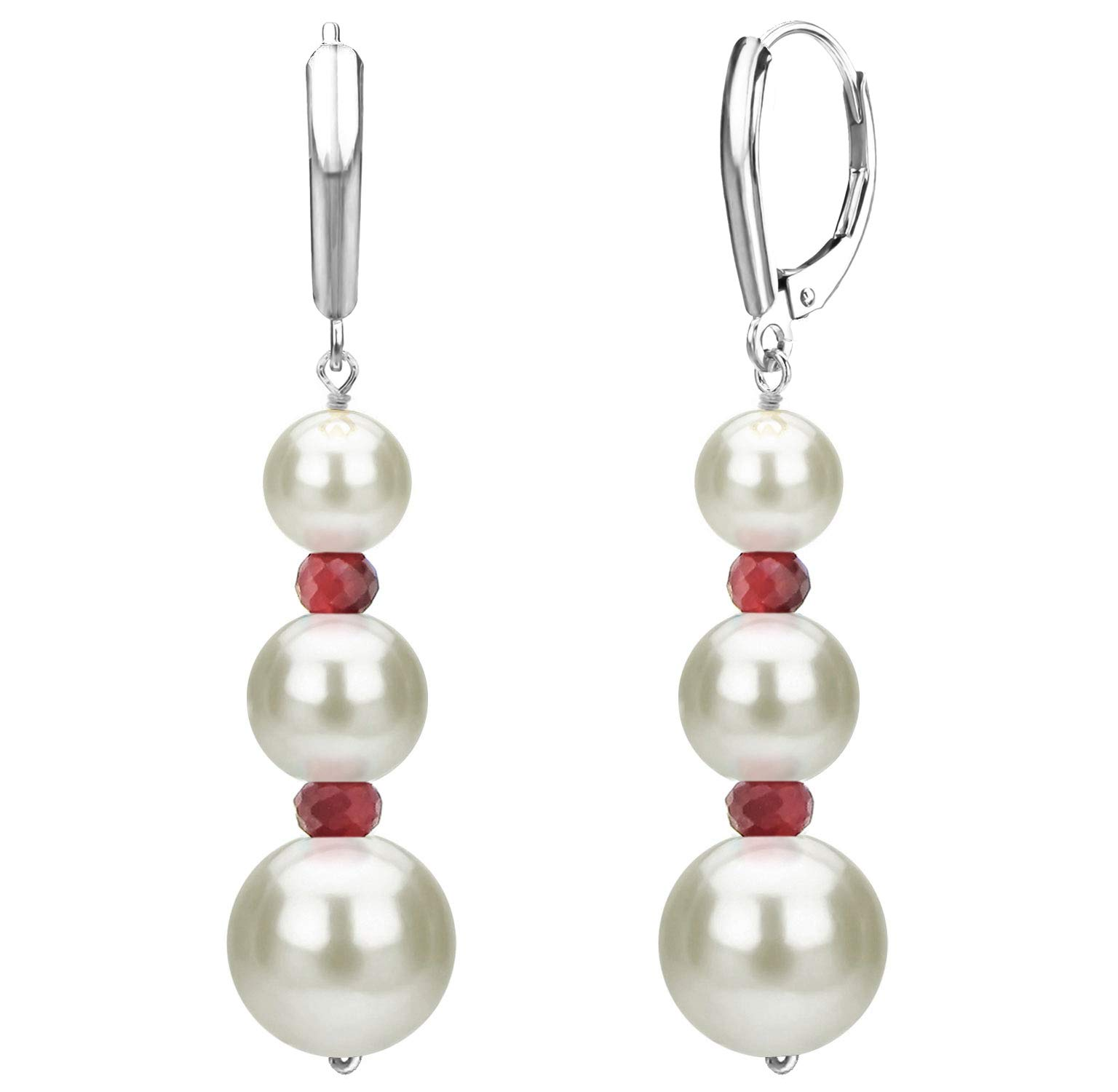 Graduated Freshwater Cultured White Pearl and Simulated Red Ruby Lever-back Earrings in 14k White Gold