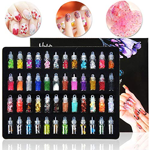 48 Bottles Nail Art Decoration Slime Supplies Kit 3D Nail Art Glitter Powder Confetti DIY Design Accessories by Happlee]()