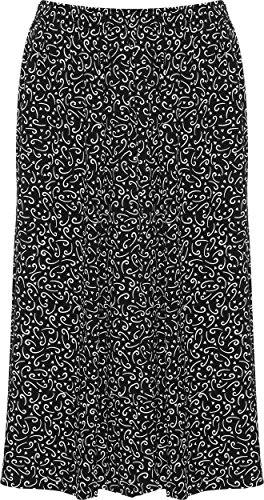 WearAll - Grande taille imprim jupe avec taille lastique - Jupes - Femmes - Tailles 40  54 Tourbillon Noir