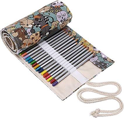 BTSKY Estuche Enrollable para Lápices con 72 Agujeros Cortina de Lápices de Tela de Gran Capacidad Organizador para Envolver Lápices de Colores, Color Café Estampado de Gatos: Amazon.es: Oficina y papelería