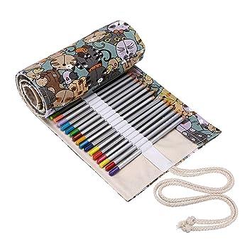 BTSKY Estuche Enrollable para Lápices con 72 Agujeros Cortina de Lápices de Tela de Gran Capacidad Organizador para Envolver Lápices de Colores, Color ...