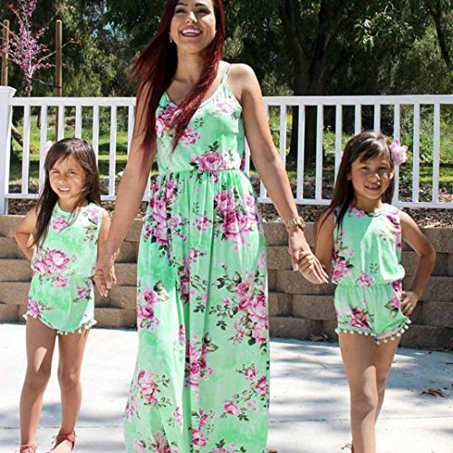 Price comparison product image Wensltd Family Matching Mommy and Me Floral Long Maxi Dress Casual Romper (24M(Baby Girl), Green)