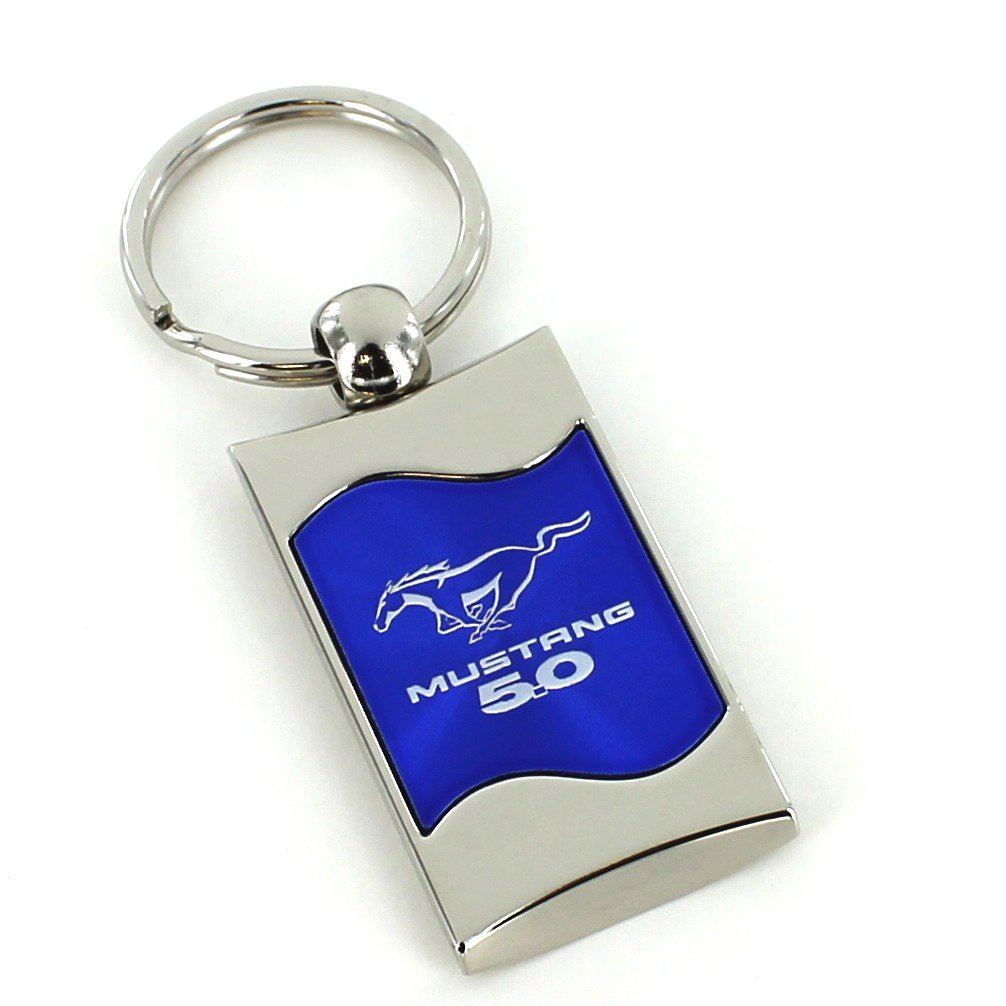 Ford Mustang 50 Blue Spun Brushed Metal Key Ring