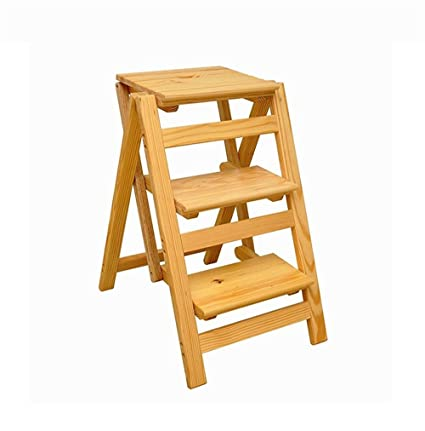 Solid Wood 3 Step Ladder Chair Multifunctional Wooden Ladder Chair Foldable  Shelving Ladder (Colour: