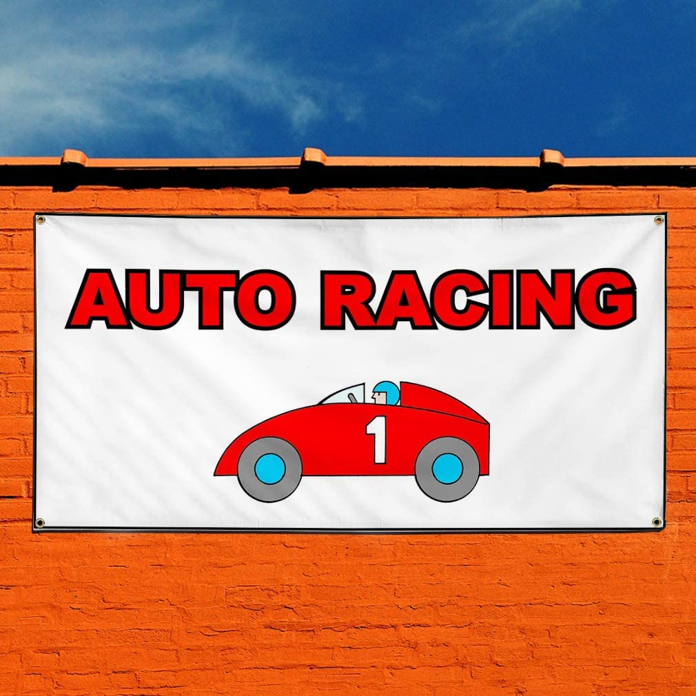 Set of 2 4 Grommets Vinyl Banner Sign Auto Racing White Red Blue Sports Outdoor Marketing Advertising White Multiple Sizes Available 28inx70in