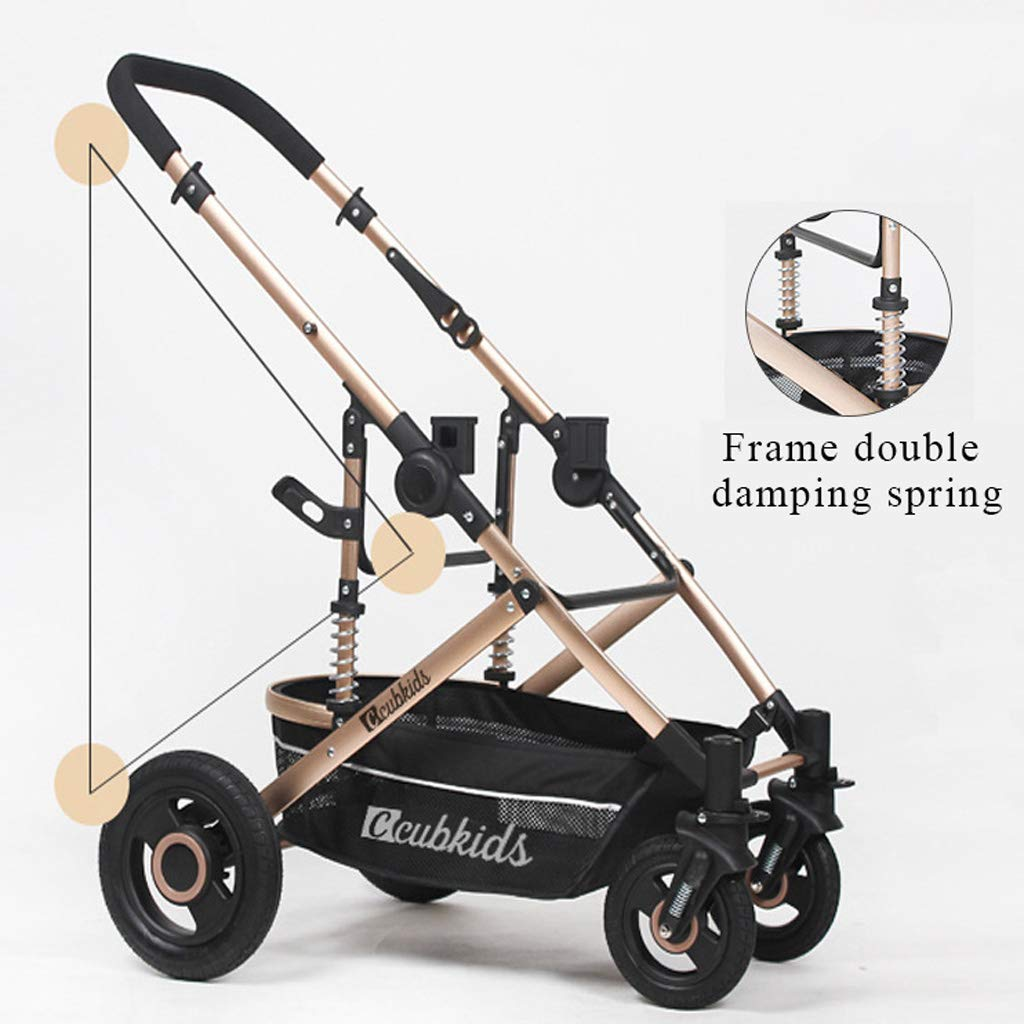 High Landscape Lightweight Baby Stroller, Four Wheel Damping Adjustable Pram Travel System Carriage Infant Pushchair Multicolor by Baby carriage (Image #3)