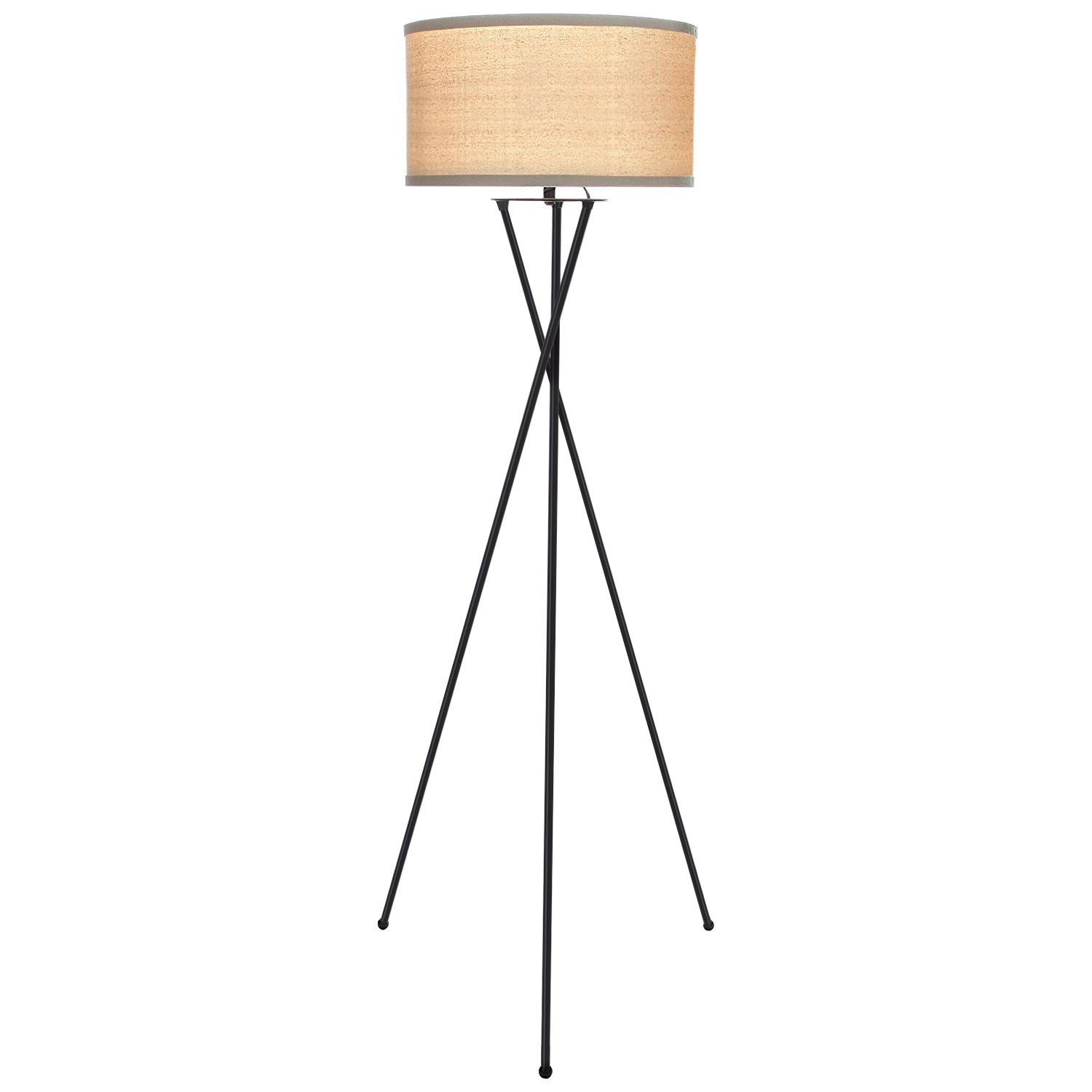 Brightech Jaxon Tripod LED Floor Lamp – Mid Century Modern Living Room Standing Light - Works with Alexa – Tall Contemporary Drum Shade Uplight and Downlight for Bedroom or Office – Black