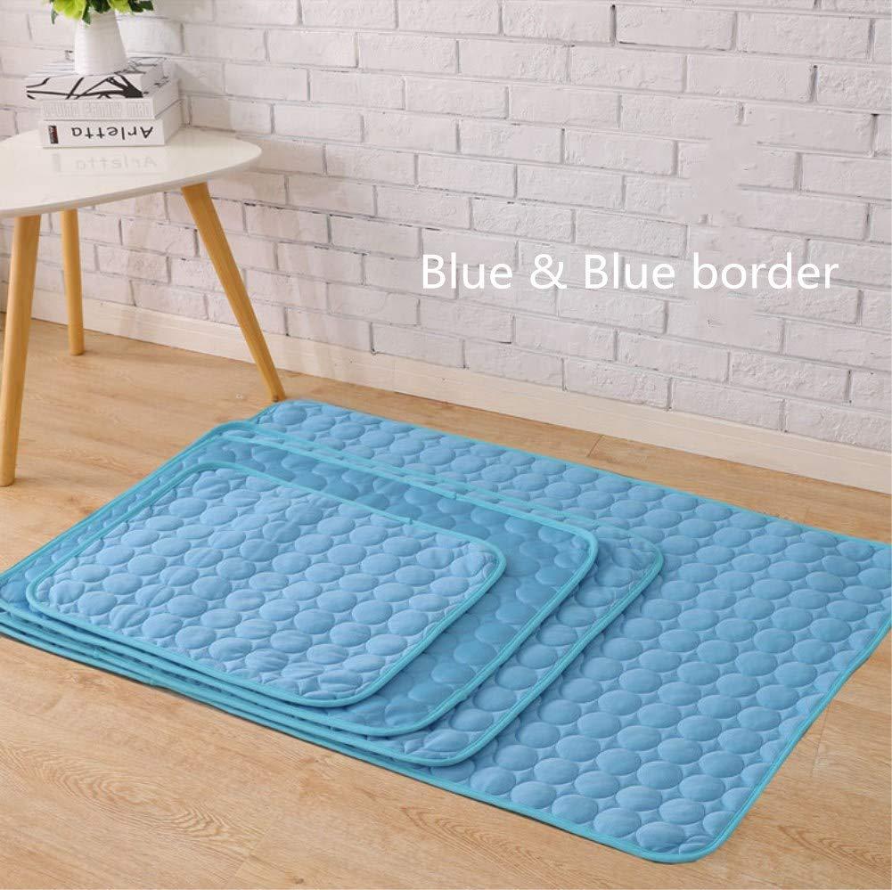 "Gaobey Pet Dog Self Cooling Mat Pad,Kennels Crates and Beds- Arf Pets (S,M,L,XL) (L: 29.1""x22.4"", Blue & blue border)"