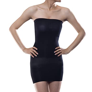 9ee067ad78d1 Shymay Women's Shapewear Slip Seamless Strapless Full Body Slimming Tube  Dress, Black, Tag Size