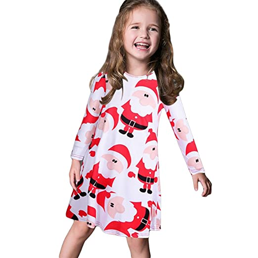 Woopower Christmas Dress for Girls, Santa Claus Print O-Neck Flared A Line Dress
