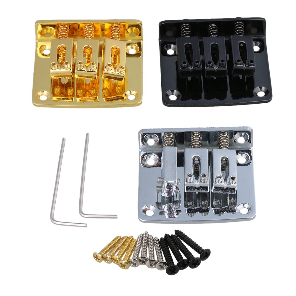 Yibuy Zinc Alloy Bridge Tailpiece for 3 String Cigar Box Electric Guitar Golden Silver Black Set of 3