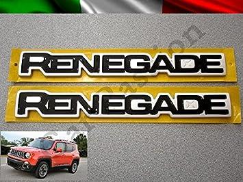 Par palabras logotipos Escudo Jeep Renegade laterales ORIGINALES derecha y izquierda negro brillante Side Emblem: Amazon.es: Coche y moto