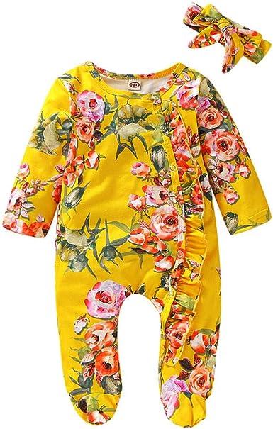K-Youth Mameluco Bebe Niña Estampado Floral Mono Bebe Invierno ...
