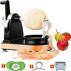 Apple Peeler Slicer Corer, Apple Peeler and Corer, Pear Peeler with bonus Orange Peeler, Stainless Steel Blade, Suction Base, Durable Multi-function, Spare Blade, Quick and Safe, Black -FEINARY