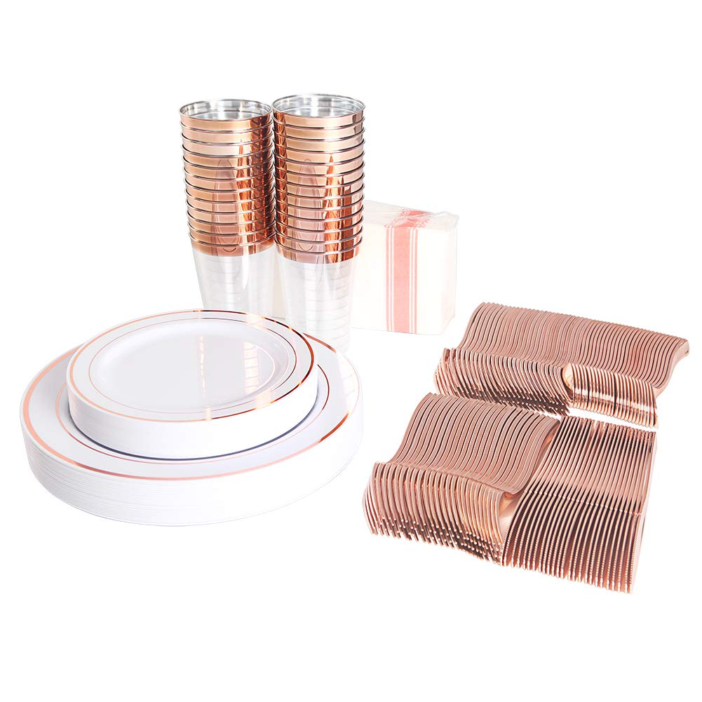 200 pieces Rose Gold Plastic Plates,Rose Gold Silverware, Rose Gold Cups, Linen Like Paper Napkins, Rose Gold Disposable Flatware, Enjoylife (Rose Gold, 200) by enjoylife (Image #6)