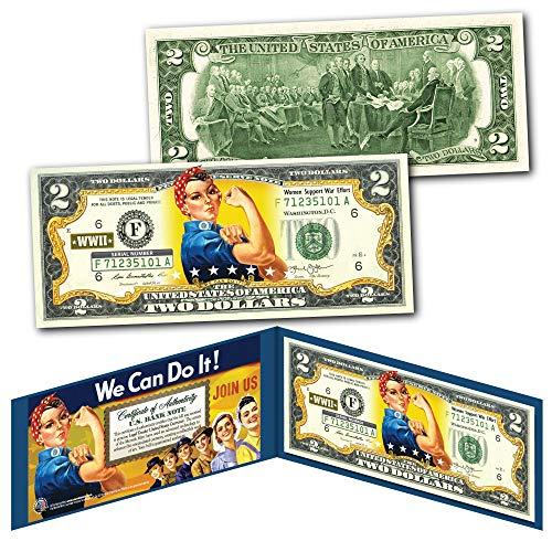ROSIE THE RIVETER WWII Cultural Icon Women's Economic Power Genuine U.S. $2 Bill