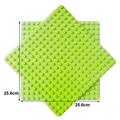 """Enlighten 2-Pack Light Green 10""""x10"""" Classic Briks Baseplate Compatible with Duplo Building Block Plate 16x16 Big Dots: Toys & Games"""