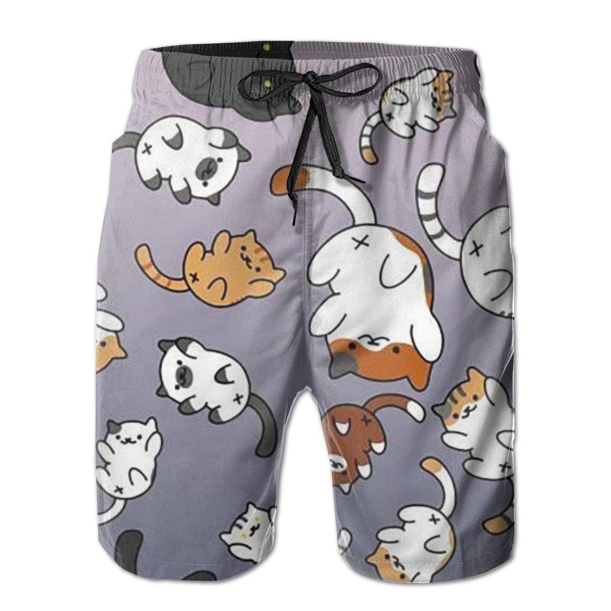 Mens Swim Trunks Quick Dry Summer Holiday Beach Shorts with Mesh Lining Cat Cat Cat Beachwear
