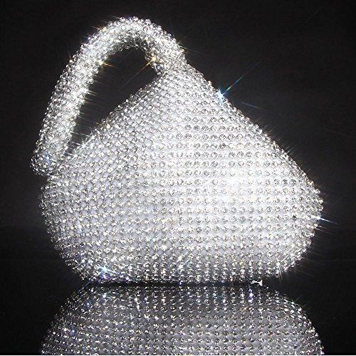 Jian Ya Na Fashion Women Rhinestone Trihedral Clutch Evening Bag Bling Zipper Wedding Purse (Silver) by Jian Ya Na (Image #2)