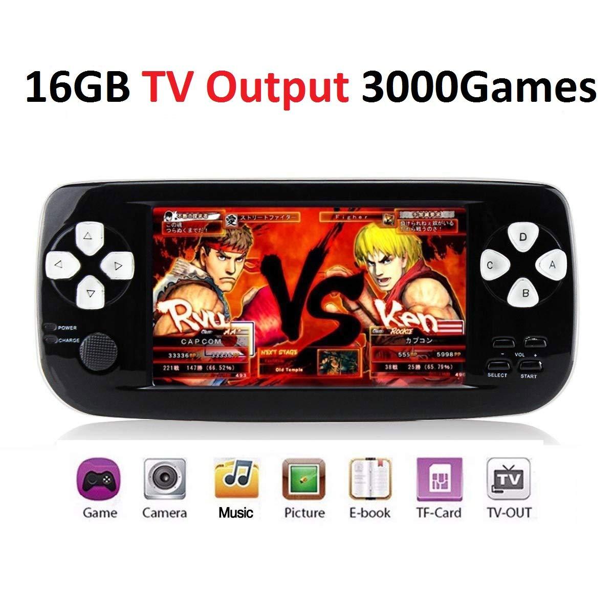 MJKJ Handheld Game Console , Portable Video Game Console 4.3 Inch 3000 Classic Retro Game Console Pap-KIII , Support GBA / GBC / GB / SEGA / NES / SFC / NEOGEO – White