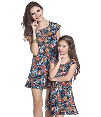 YOUJIA Mom Kids Girls Short Sleeve Floral Mini A-Line Dresses Mother and  Daughter Matching Clothes  Amazon.co.uk  Clothing 0d67f25ca3