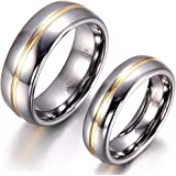 JewerlyWe Pair of Matching His 8MM & Hers 6MM Comfort Fit Two Tone Tungsten Gold Color Groove Inset Wedding Band Ring Set (Sizes J-Z+3 Available). Please E-mail Sizes