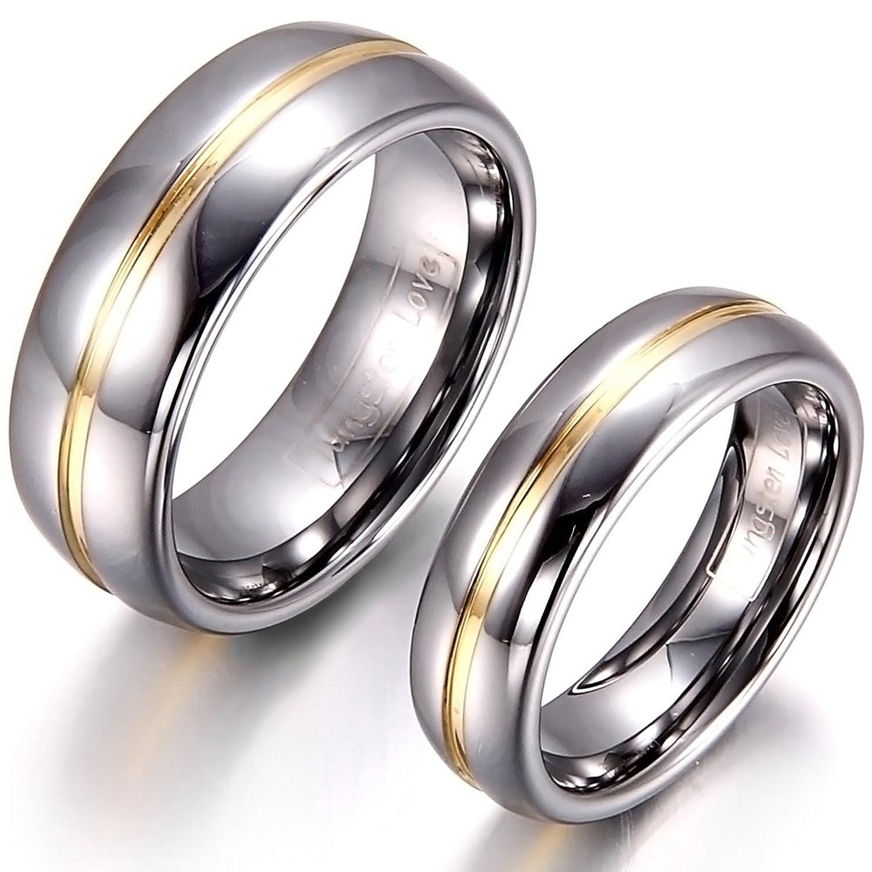 Freundschaftsringe silber gold  JewelryWe Schmuck 1 Paar Wolfram Wolframcarbid Gold Rille in der ...