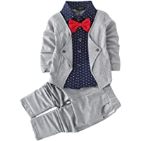 Si Noir by Hopscotch Boy's Cotton Blazer Navy Shirt and Pant Suit Set in Gray