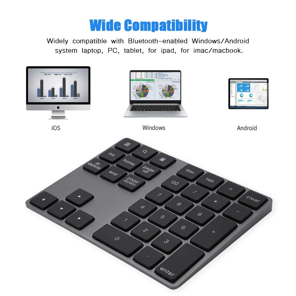 Black Windows Tangxi Aluminum aAlloy Wireless Bluetooth Numeric Keypad Smartphones Surface Pro Notebook Tablets 34 Keys Wireless Number Pad,Durable Portable Numpad Keyboard for Laptop
