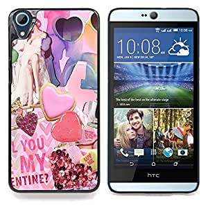 """For HTC Desire 826 Case , Papel Arte Moderno de San Valentín del corazón"""" - Diseño Patrón Teléfono Caso Cubierta Case Bumper Duro Protección Case Cover Funda"""