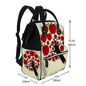 Diaper Backpack Bags Delicious Red Apple Icon in Tree Pencil Idea Layered for Easy Manipulation Travel Nappy Bags