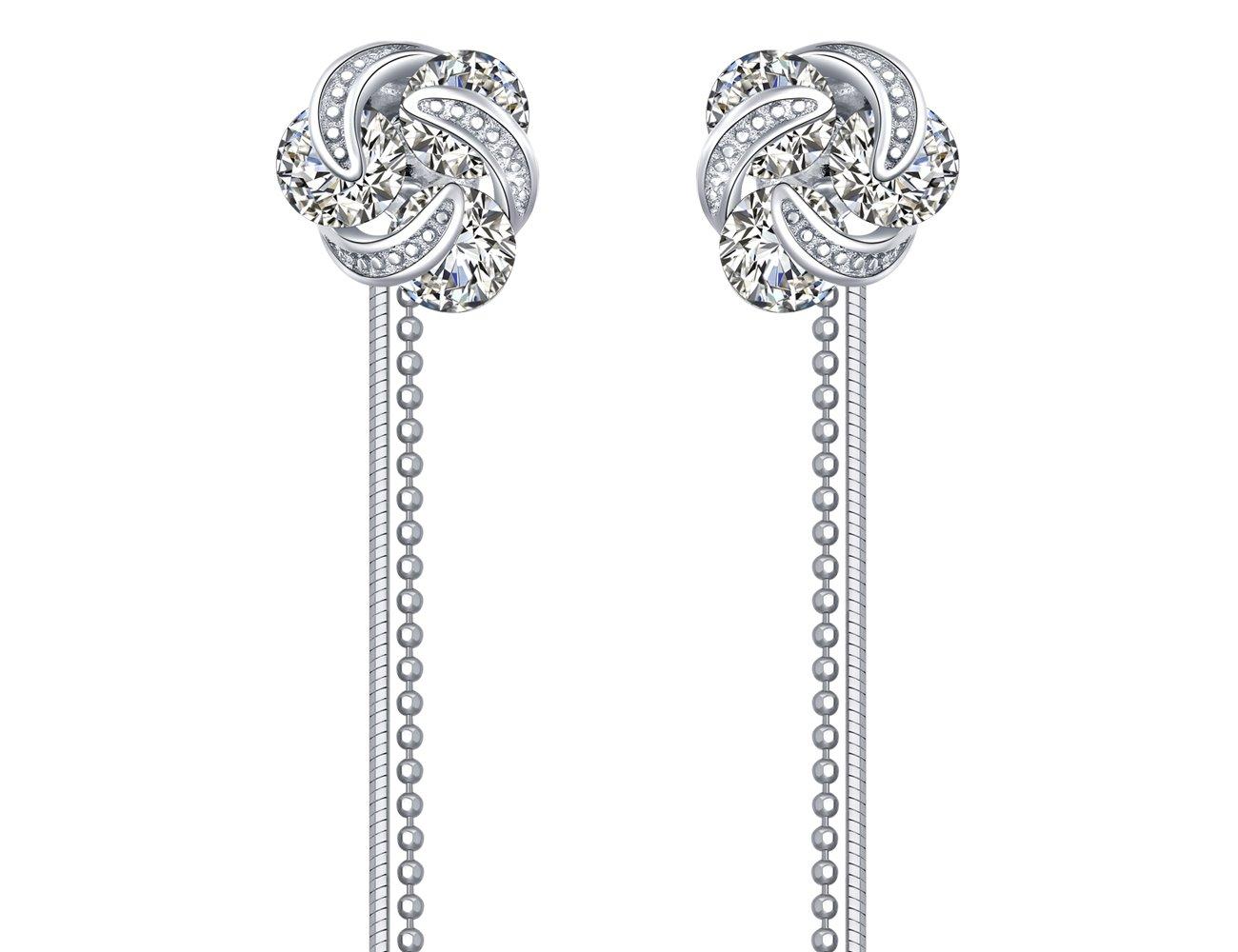 KEETEEN Love Knot Sterling Silver Twisted Zirconia Stud Earrings(Long Tassel/Short Stud Changeable)
