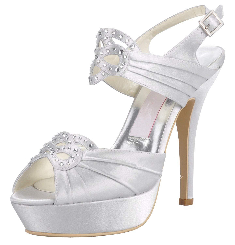 ZHRUI GYMZ708 Femmes Plateforme Slingback Satin Soirée De Bal Chaussures De Mariée De Mariage Pompes Sandales Flat (Couleuré   blanc-12cm Heel, Taille   8.5 UK)
