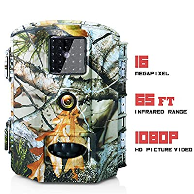 Olymbros Trail Camera 16MP Game Deer Hunting Cams Motion Activated Night Vision 65ft/20m No Glow IR LEDs IP65 Waterproof for Wildlife Scounting Home Security Outdoor Surveillance from Outwards LLC