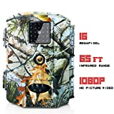 Olymbros Trail Camera 16MP 1080P HD/Wildlife Cam 110°Wide Angle/ 20m Detection Range/Trigger Time 0.6s IP65/ Storage to 32GB/ IR Night Version for Outdoor Nature Garden Home Security Surveillance