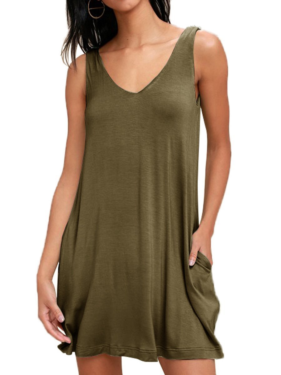 Youxiua Womens Casual T-Shirt Dress Deep V Neck Sleeveless Loose Summer Mini Dress with Pockets