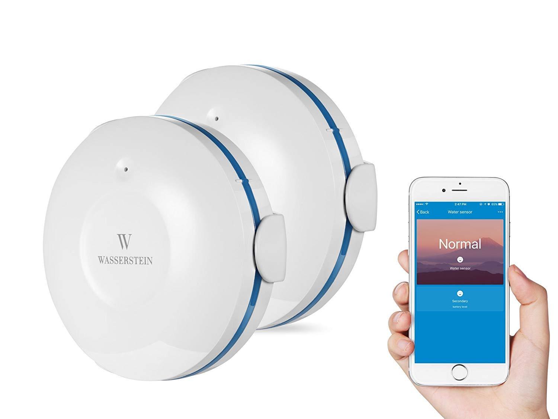 Wasserstein WiFi Water Leak Sensor, Smart Flood Detector (2-Pack, White) by Wasserstein