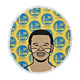 KESS InHouse Will Wild Steph Curry Yellow Sports Round Beach Towel Blanket