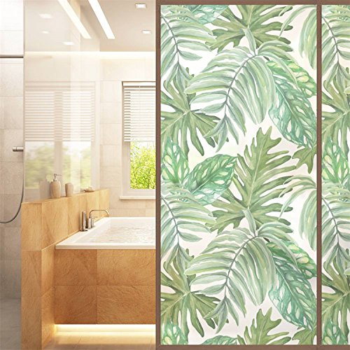 AmazingWall Palm Leaves Privacy Window Film Bathroom Glass Door Decor Heat Control Home Kitchen Dormitory 22.8x70.9