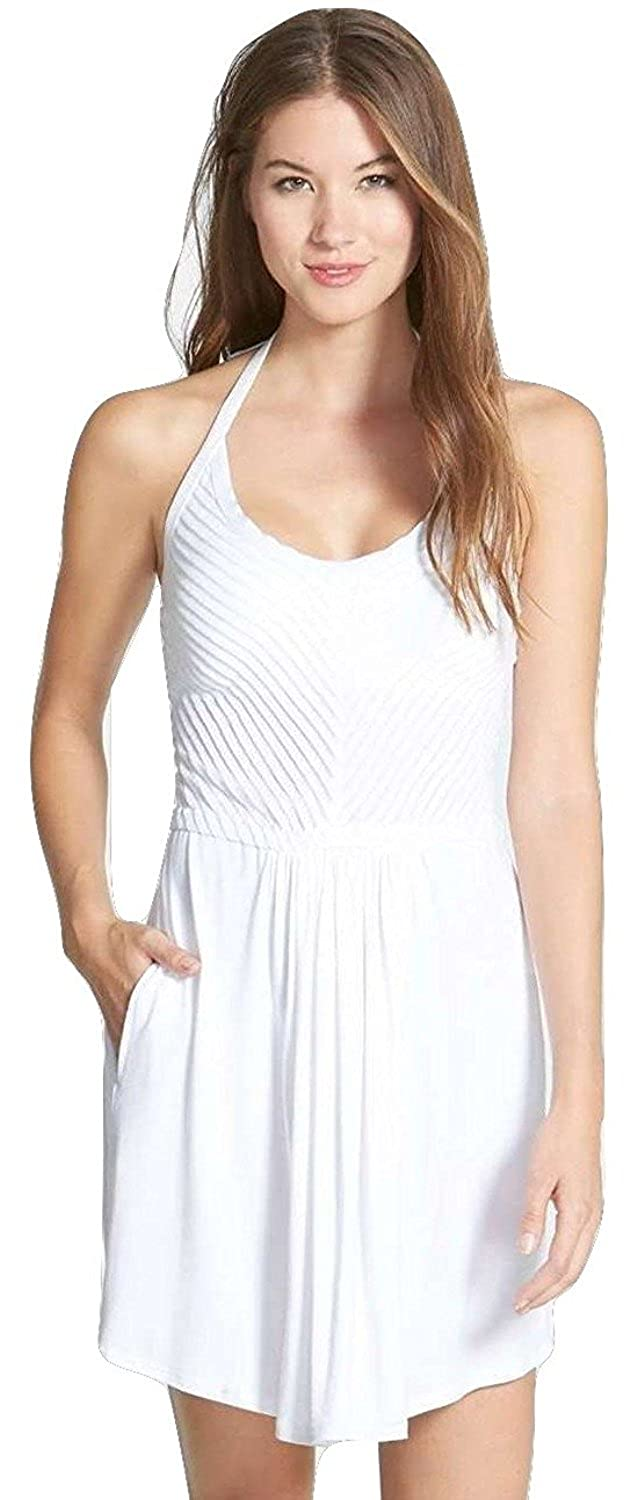 42c98b5d48 Robin Piccone Women s Yolanda Shutter Pleat Halter Cover-up Dress White (M)  at Amazon Women s Clothing store