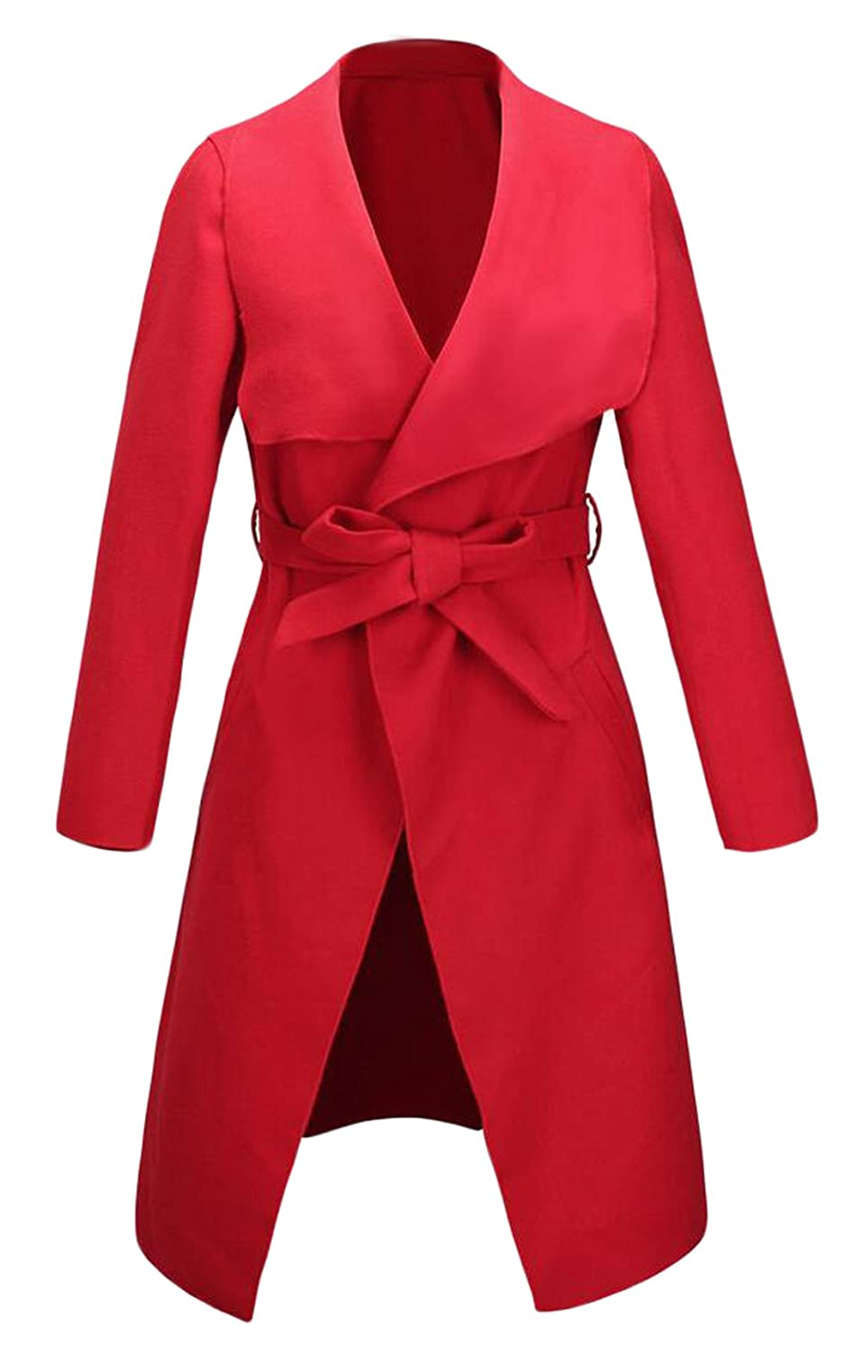 GAGA Women's Elegant Solid Color Trench Wool Coat With Belt