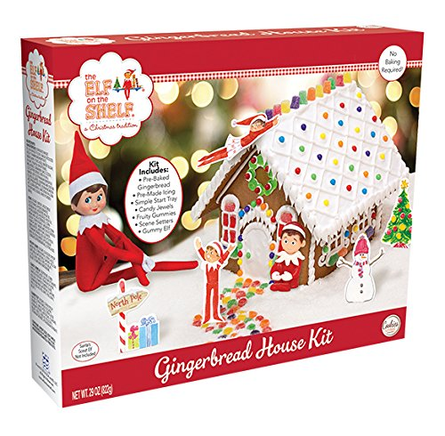 Elf on the Shelf Gingerbread House Kit Pre-baked + Pack of 30 Mini Peppermint Candy Cane + Holiday Themed Gift Basket Bag | Christmas DIY Large 29 Oz Kit | Pre-made Icing Fruity Gummies Scene Setters