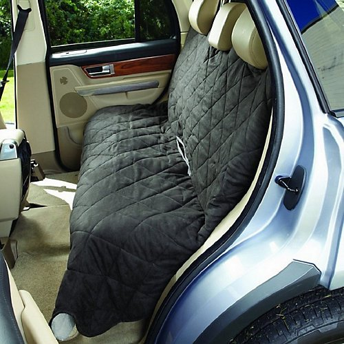 Polyester Suede Slipcover (Sure Fit Soft Suede/Sherpa Auto Cover - Large  Slipcover  - Graphite/Cream (SF41747))