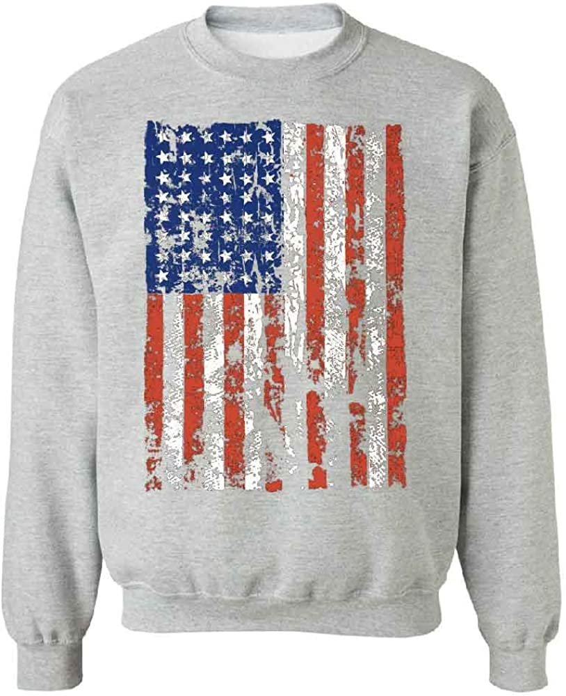 Distressed American Flag Unisex Crewneck Vintage USA Flag 4th of July Sweater